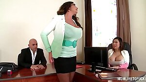 Well endowed sexy big tits pornstar at her office threesome