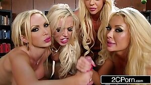 Blond spoiled office orgy