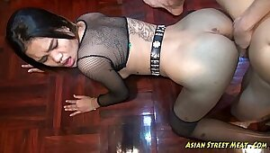Sexy Asian sucking cock sporty lips and throat fucked