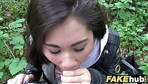 Asian girl banged in public for free