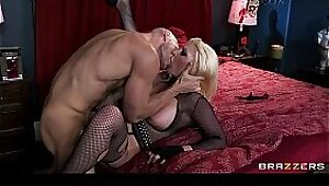 Busty and sexy blonde slut gets her juicy ass fucked and gives a mouthful