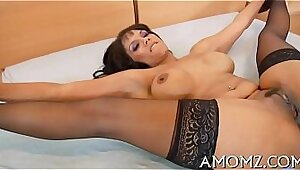 Babe sits on hot tits while casting job she has tried