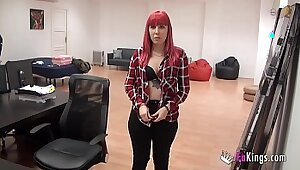 Casting Footslave Tonika playing doms cock and pinching her pussy