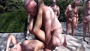 Six mad grandpas gangbang rich young blonde to revenge