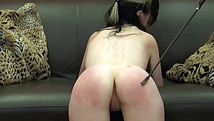 Faes bare ass spanking and corporal punishment of striped amateur slave in sever