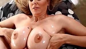 Sensual milf julia ann gets a load of warm jizz on her tits