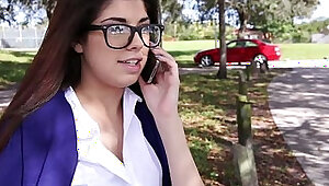InnocentHigh Hot schoolgirl Ava Taylor in nerdy glasses fucked in hardcore
