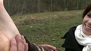 In the country with Leila Amateur Foot Worship